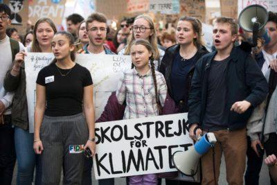Greta Thunberg durante una manifestazione